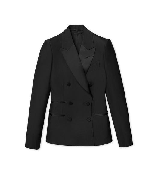 FLUID SILK WOOL DOUBLE BREASTED TUXEDO JACKET