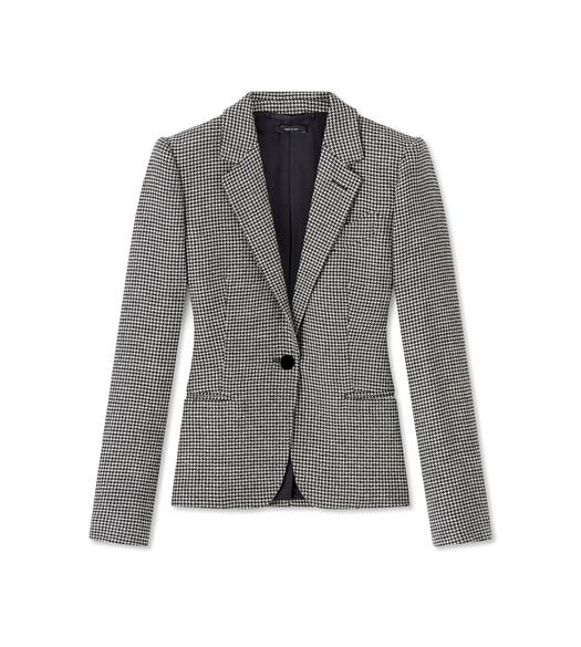 HOUNDSTOOTH WOOL TAILORED JACKET