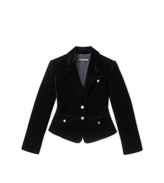 COTTON VELVET CROPPED PEAK LAPEL JACKET