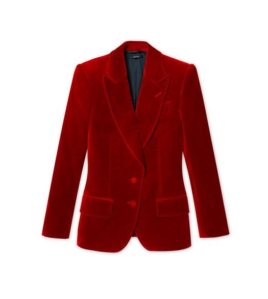 COTTON VELVET PEAK LAPEL TAILORED JACKET