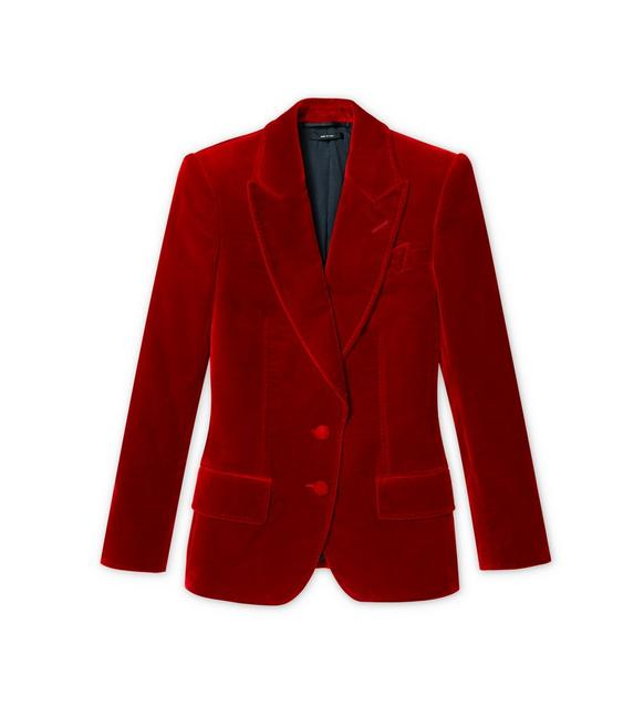 COTTON VELVET PEAK LAPEL TAILORED JACKET A fullsize