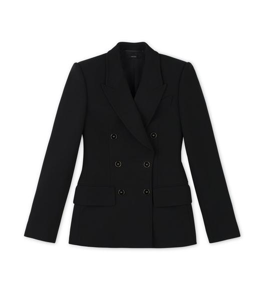 DOUBLE SPLITTABLE STRETCH WOOL TAILORED PEAK LAPEL JACKET