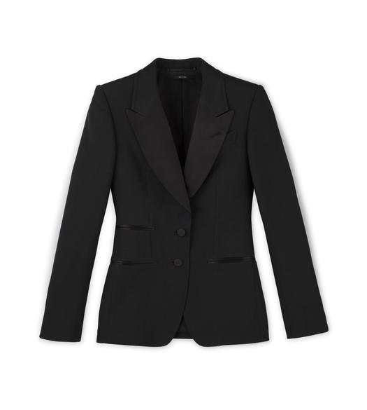 FLUID SILK WOOL TUXEDO PEAK LAPEL JACKET