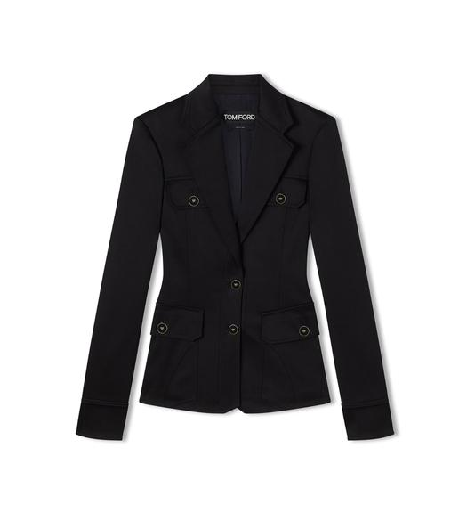 TAILORED STRETCH COTTON VISCOSE NOTCH LAPEL JACKET