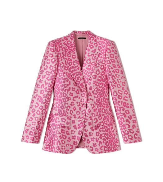 SILK LEOPARD JACQUARD COCKTAIL JACKET