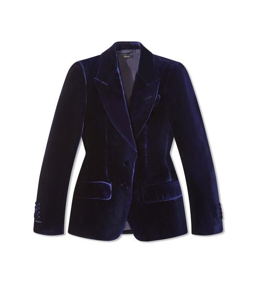 VISCOSE VELVET PEAK LAPEL JACKET