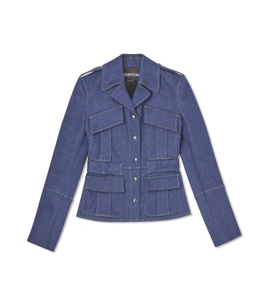 STRETCH INDIGO DENIM FITTED JACKET