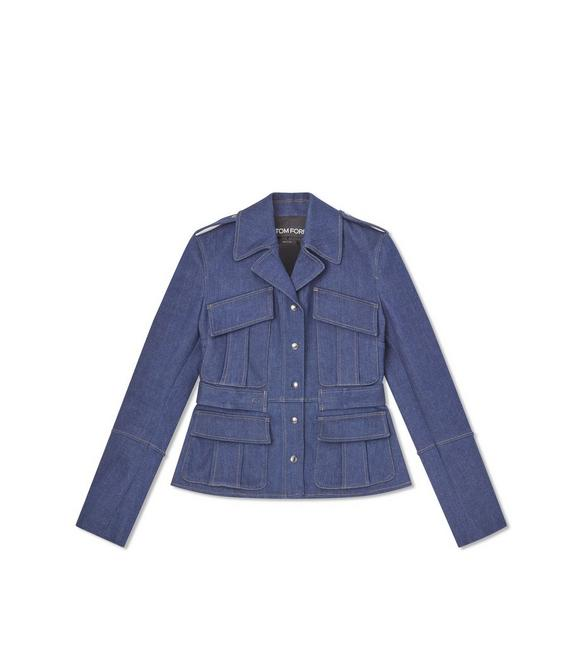 STRETCH INDIGO DENIM FITTED JACKET A fullsize