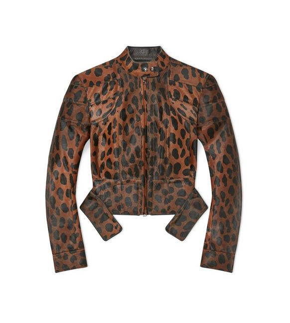 PANTHER PRINTED STRUCTURED BIKER JACKET A fullsize
