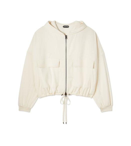 STRETCH SILK JERSEY OVERSIZE HOODED JACKET