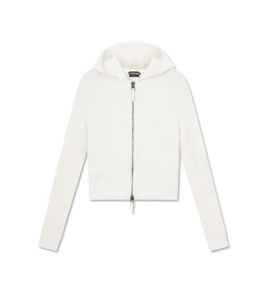 CASHMERE BOUCLE HOODED TOP