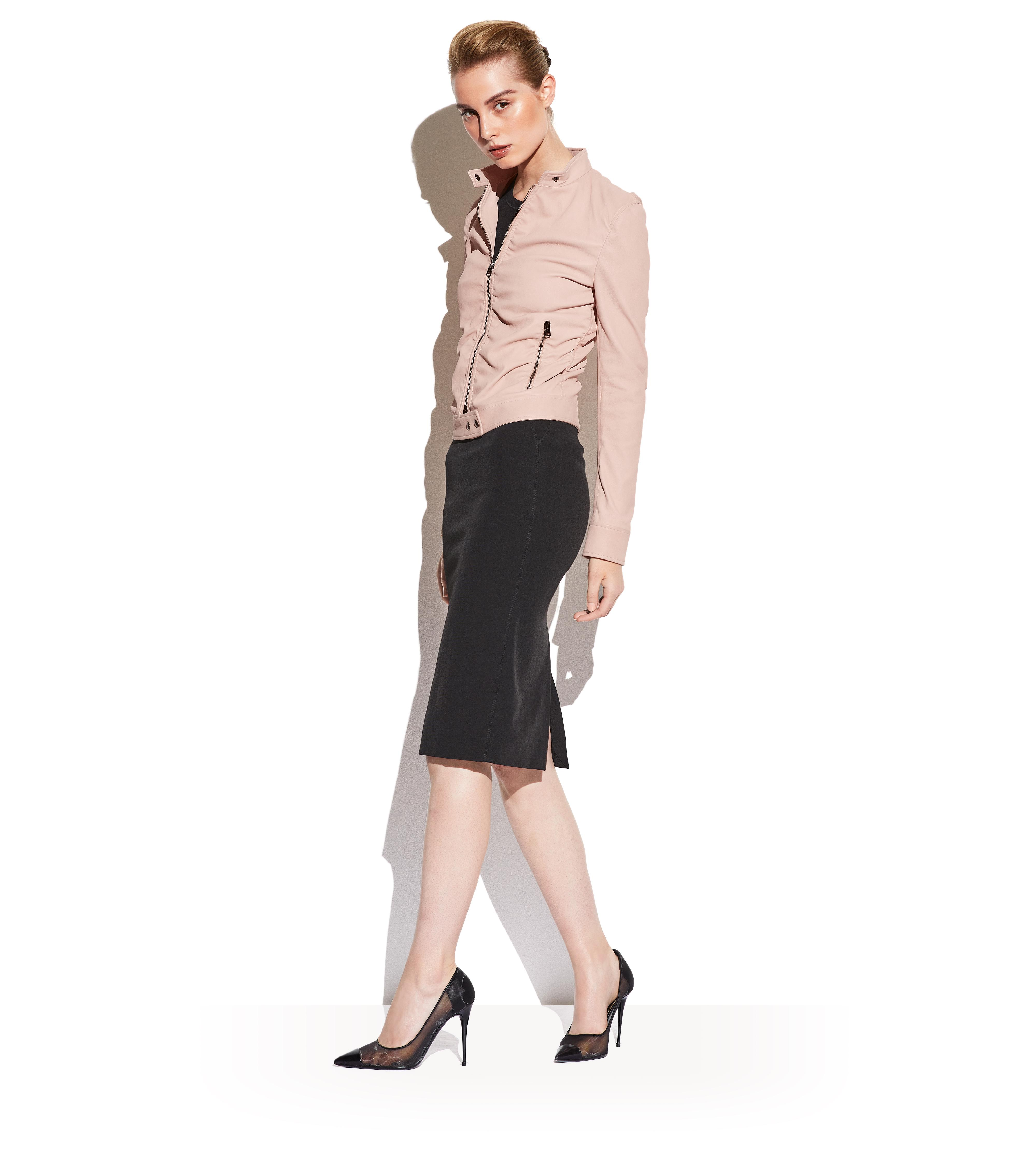 RUCHED LEATHER JACKET B thumbnail