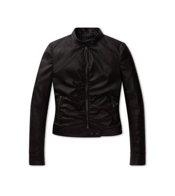 RUCHED LEATHER JACKET A fullsize