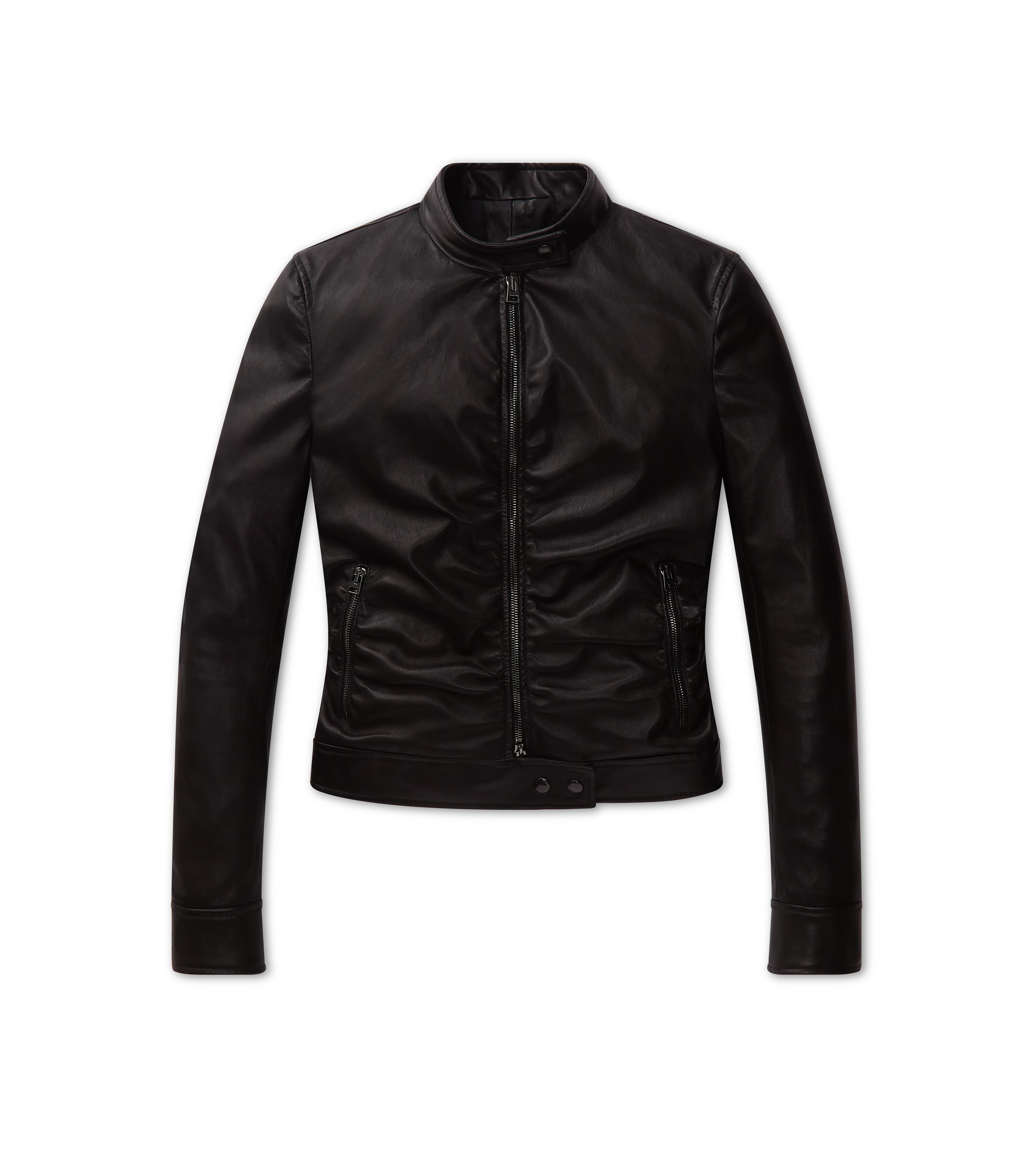 RUCHED LEATHER JACKET A thumbnail