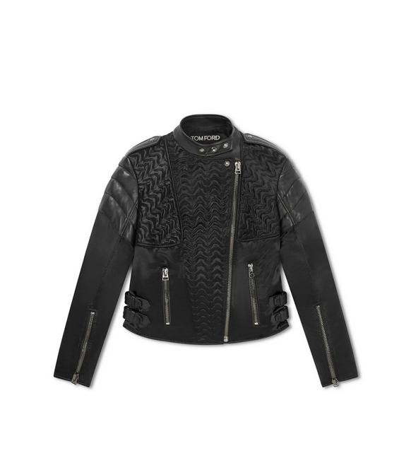 QUILTED SILK AND LEATHER BIKER JACKET A fullsize