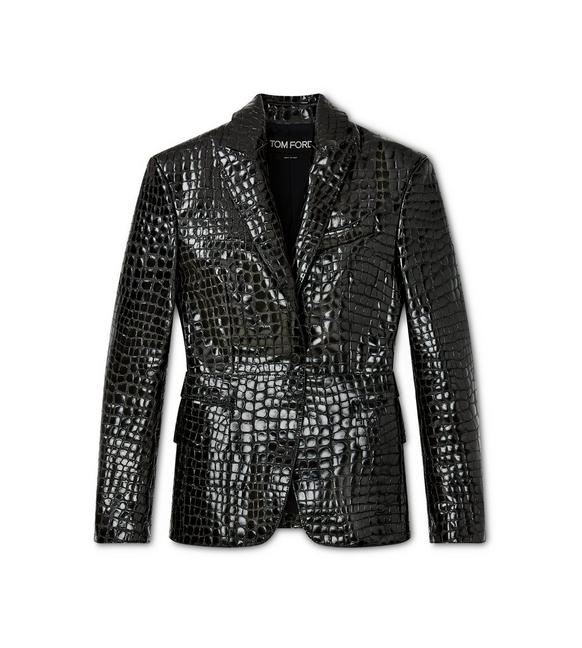 CROCO EMBOSSED LEATHER TAILORED JACKET A fullsize