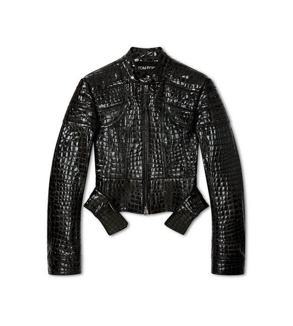 CROCO EMBOSSED LEATHER STRUCTURED BIKER A fullsize