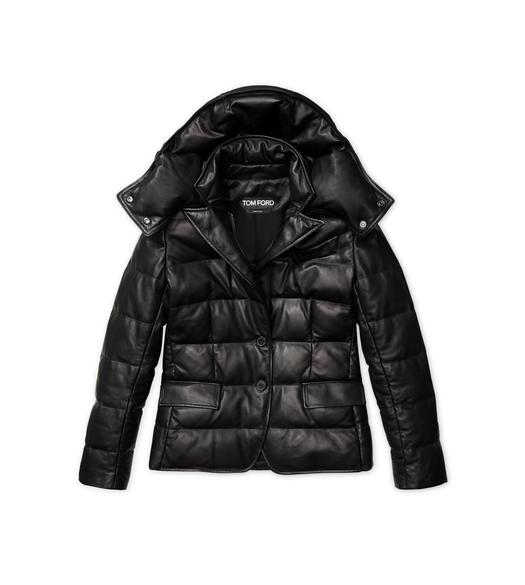 SOFT LEATHER QUILTED SHORT PUFFER JACKET