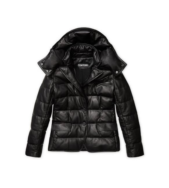 SOFT LEATHER QUILTED SHORT PUFFER JACKET A fullsize