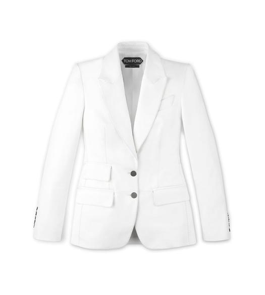 TAILORED PLONGE LEATHER PEAK LAPEL JACKET