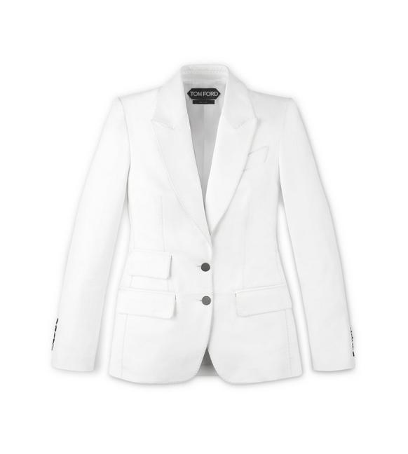 TAILORED PLONGE LEATHER PEAK LAPEL JACKET A fullsize
