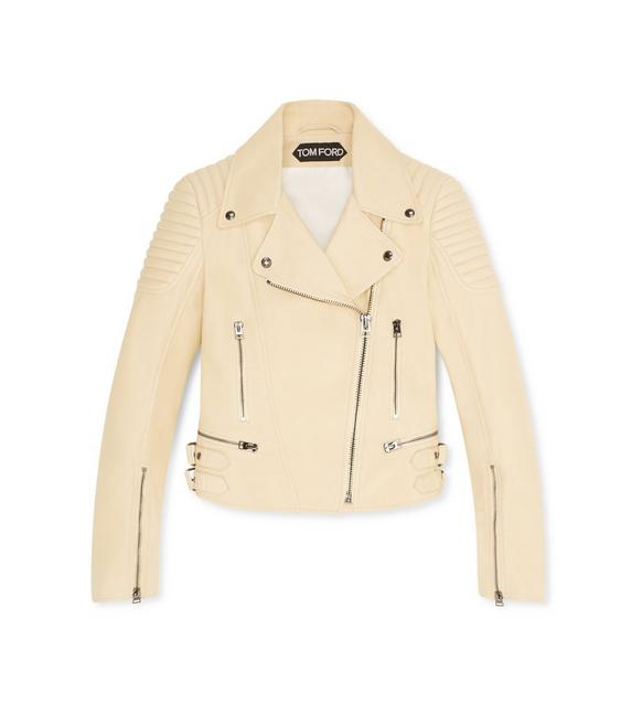 STRAW FITTED BIKER JACKET A fullsize