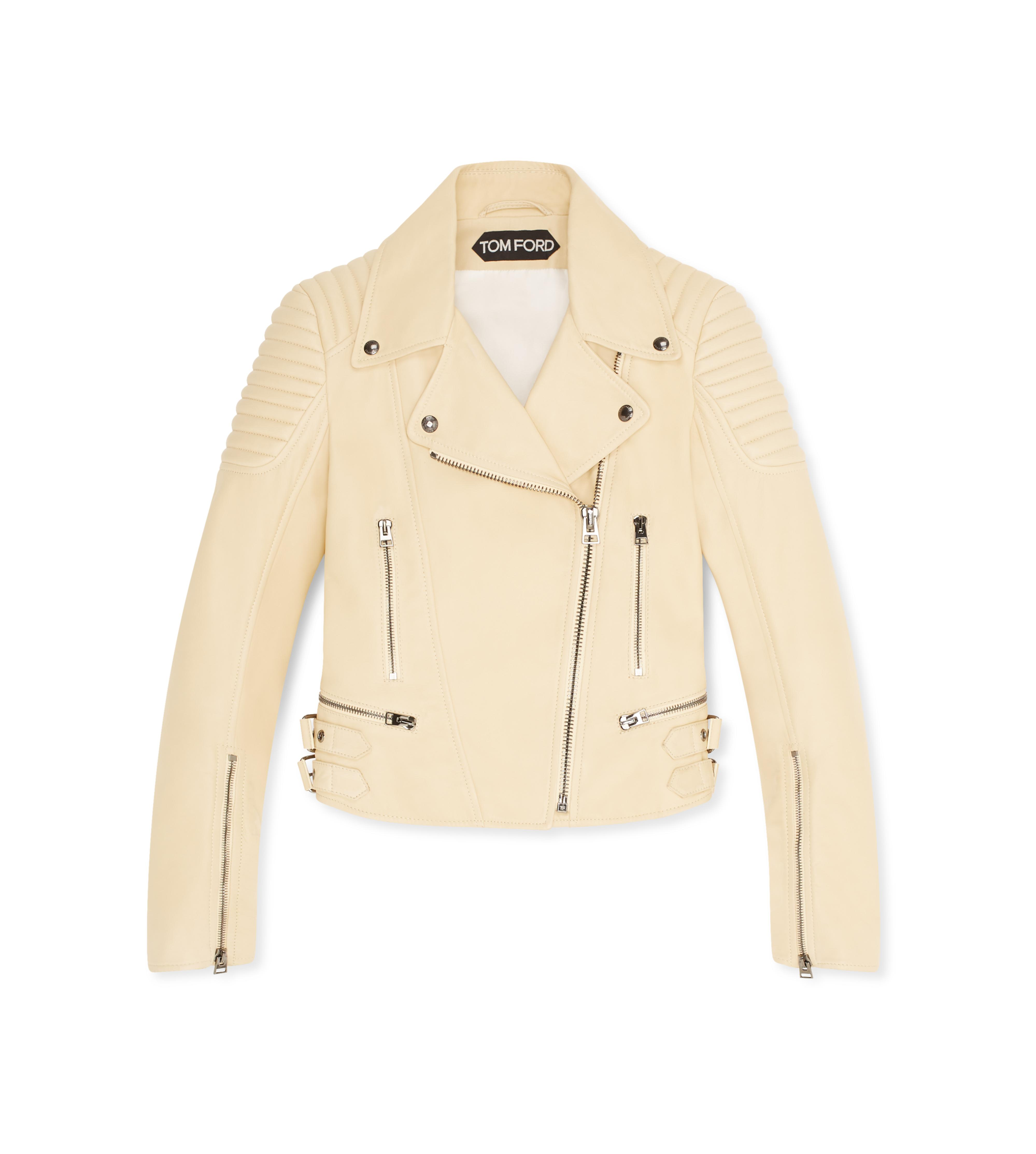 STRAW FITTED BIKER JACKET A thumbnail