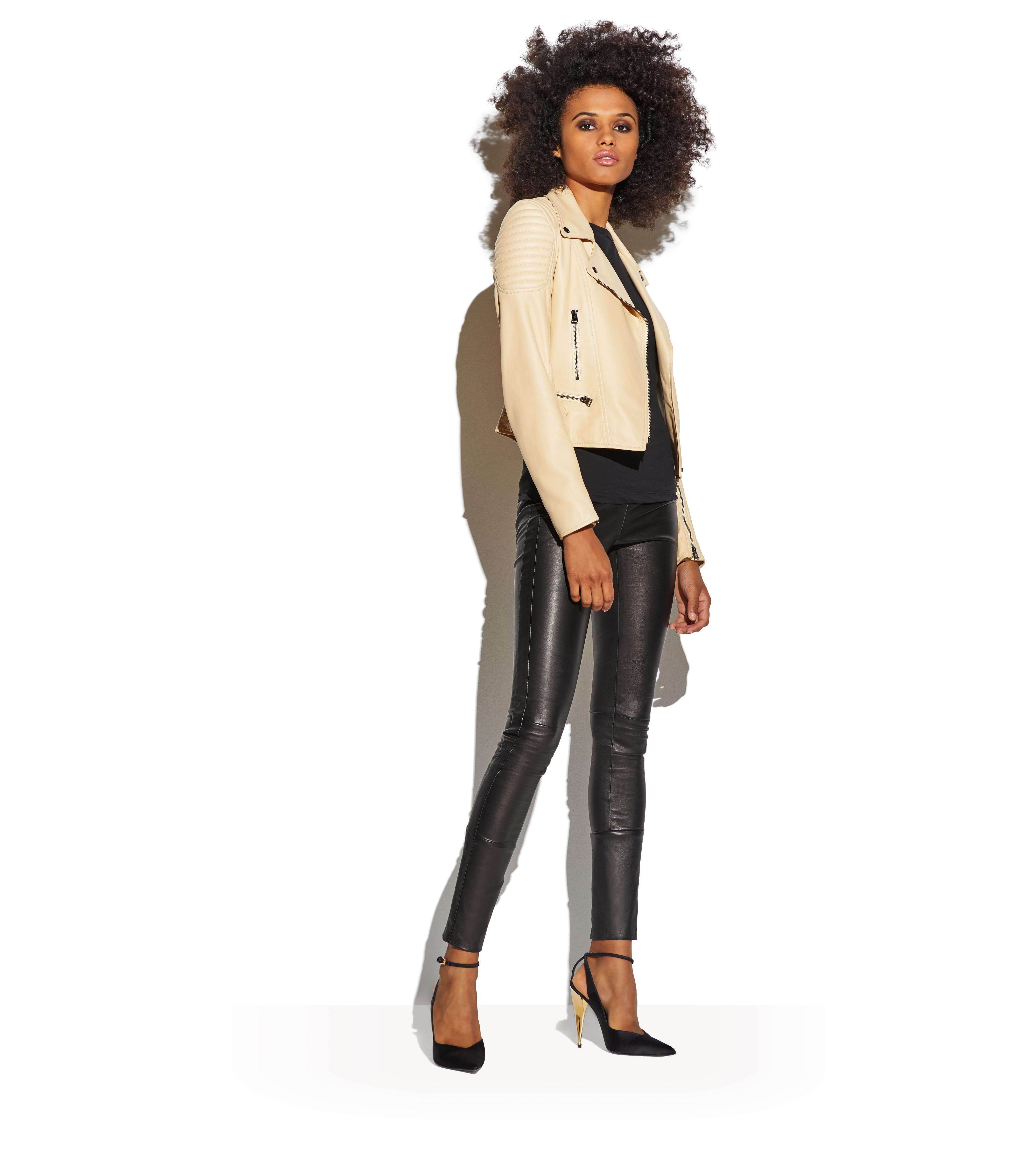 STRAW FITTED BIKER JACKET B thumbnail