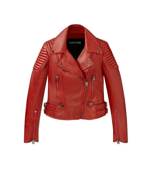 CLASSIC FITTED LEATHER BIKER JACKET A fullsize