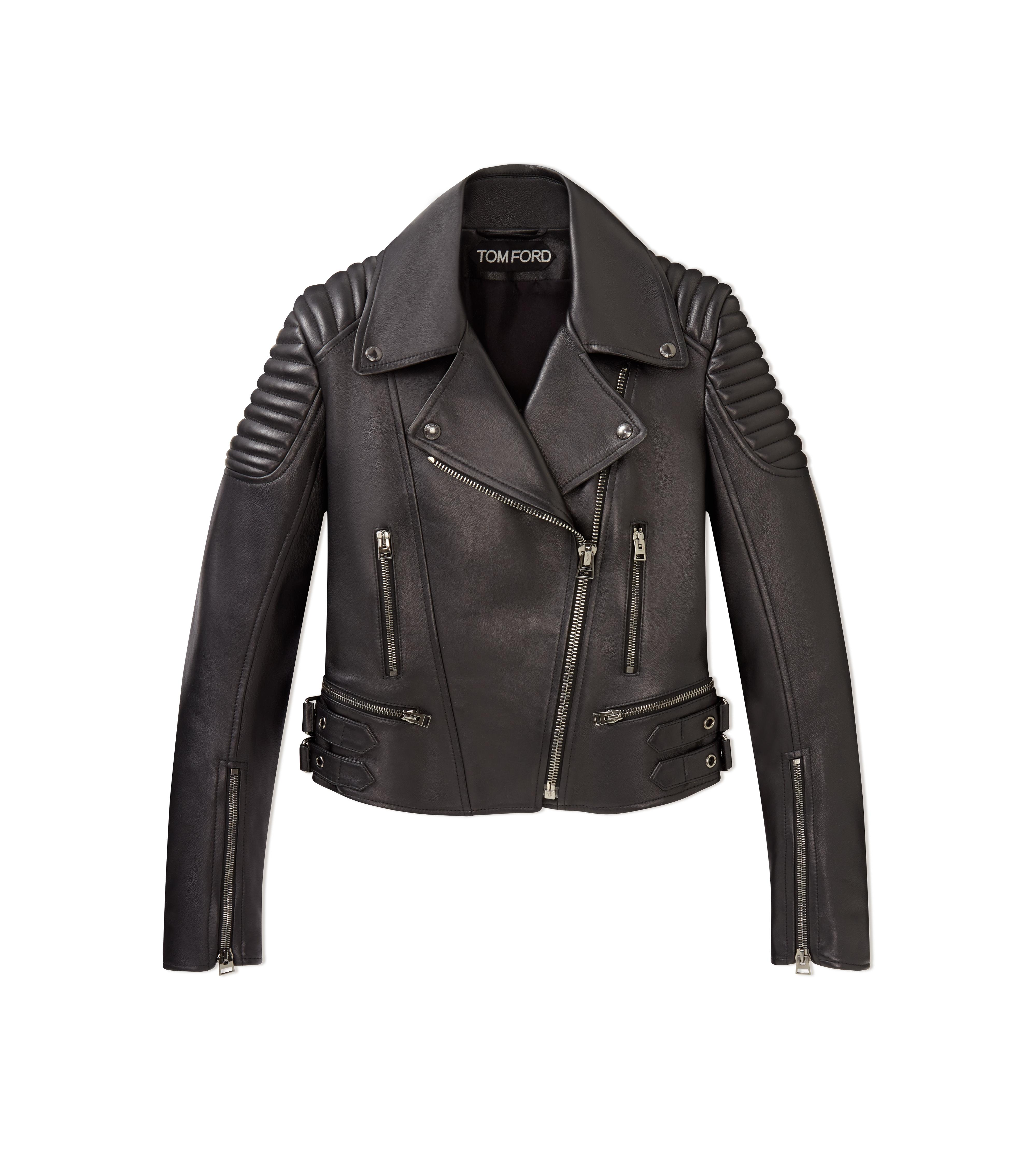 CLASSIC FITTED LEATHER BIKER JACKET A thumbnail