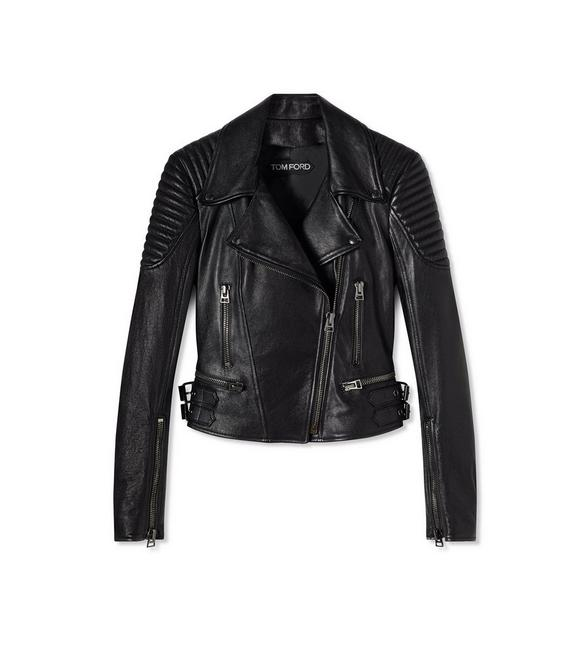 LEATHER FITTED BIKER JACKET A fullsize