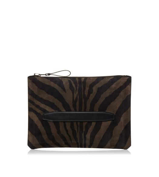 ZEBRA SUEDE BUCKLEY ZIP PORTFOLIO