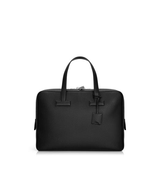 T LINE GRAINED LEATHER SMALL BRIEFCASE