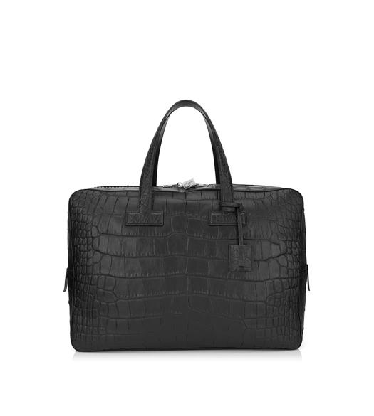 T LINE MATTE ALLIGATOR MEDIUM BRIEFCASE