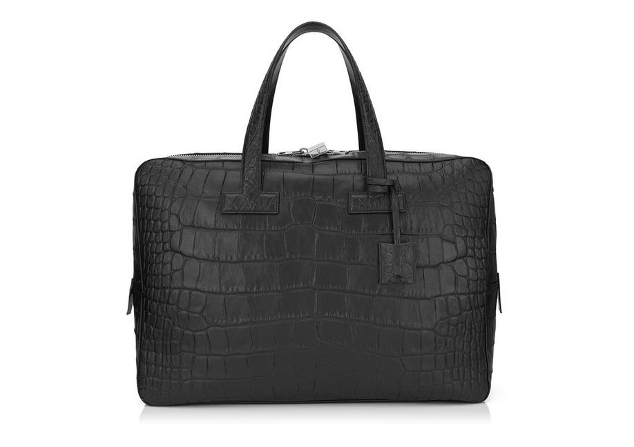 T LINE MATTE ALLIGATOR MEDIUM BRIEFCASE A fullsize