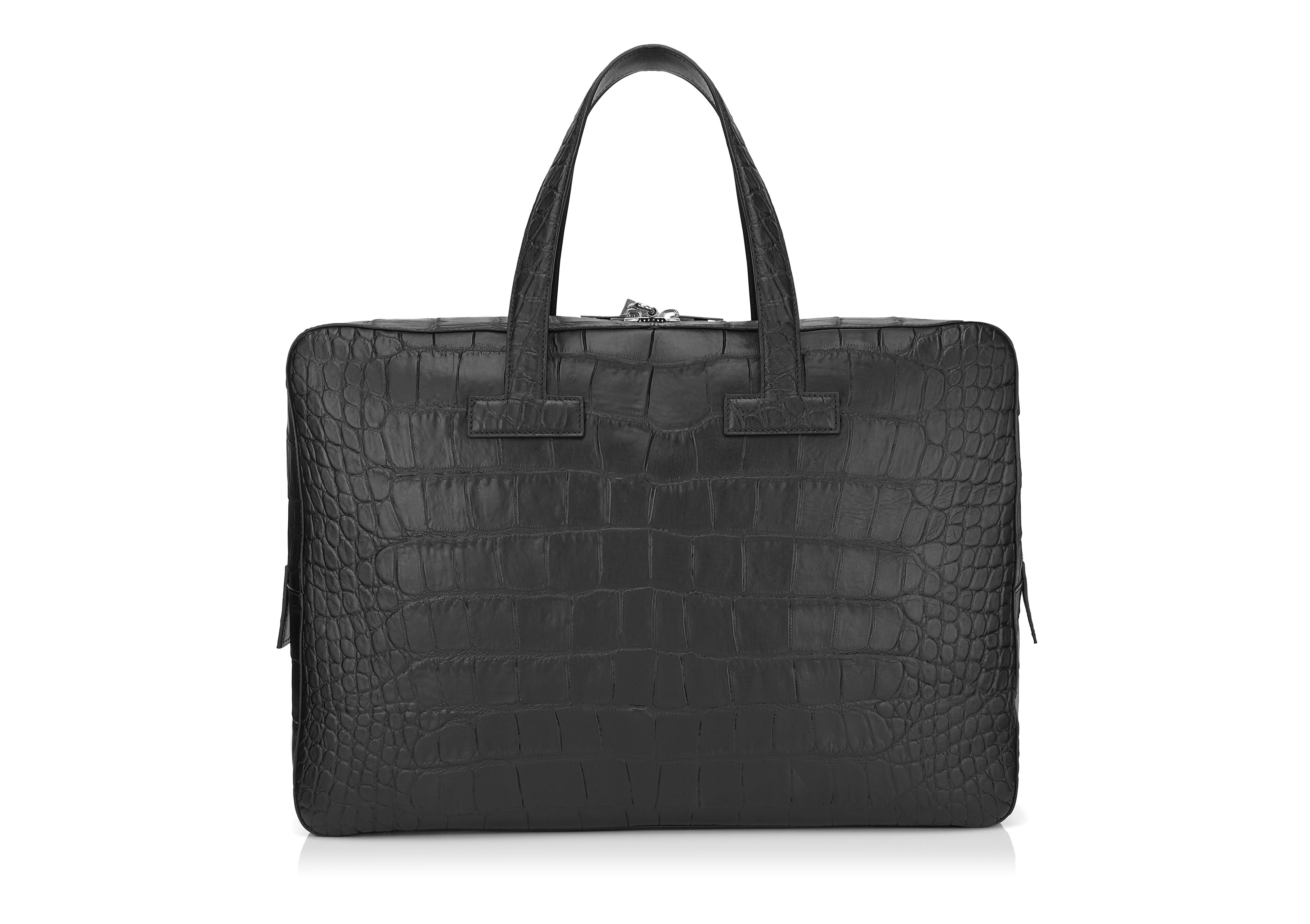 T LINE MATTE ALLIGATOR MEDIUM BRIEFCASE C thumbnail