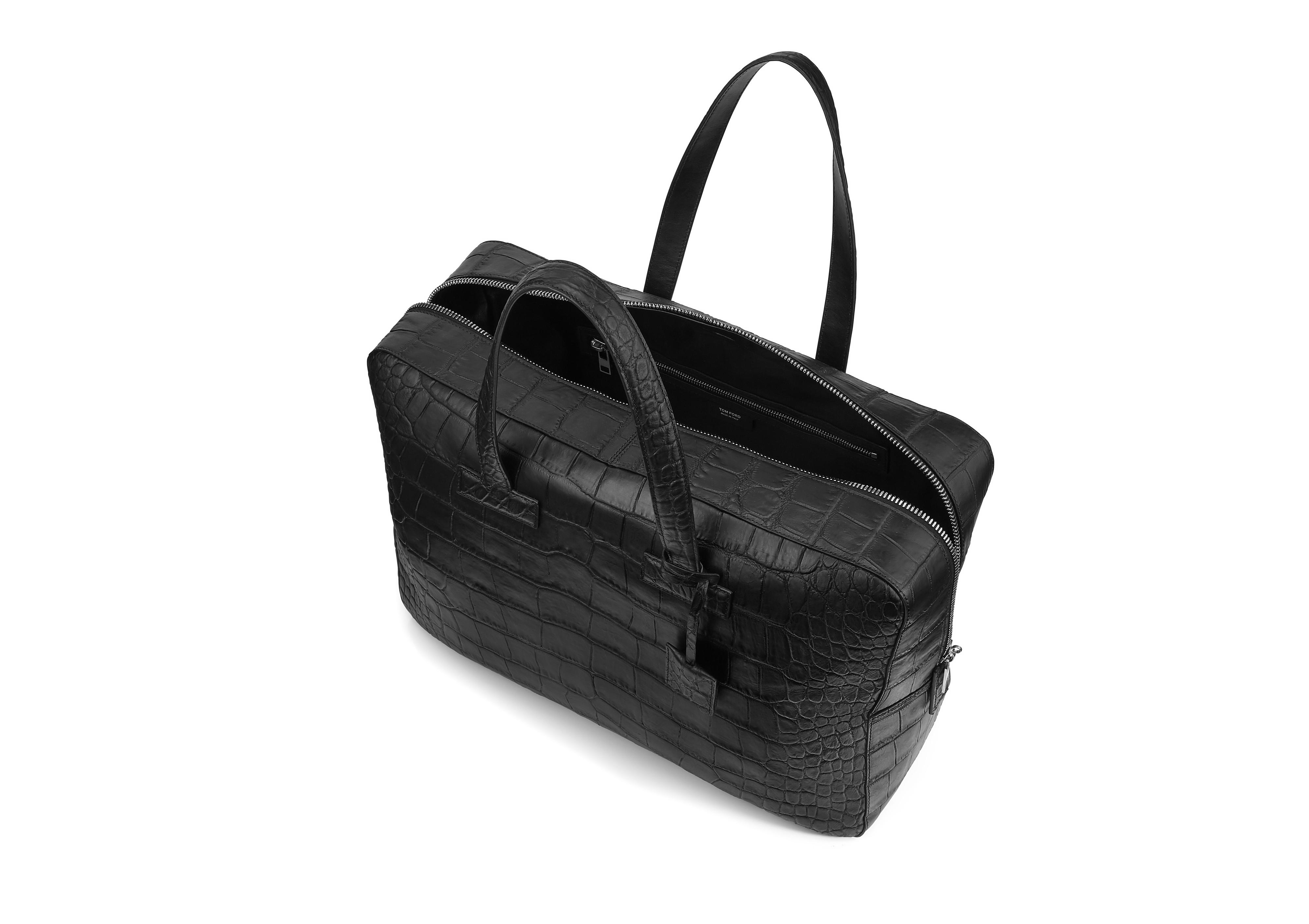 T LINE MATTE ALLIGATOR MEDIUM BRIEFCASE D thumbnail