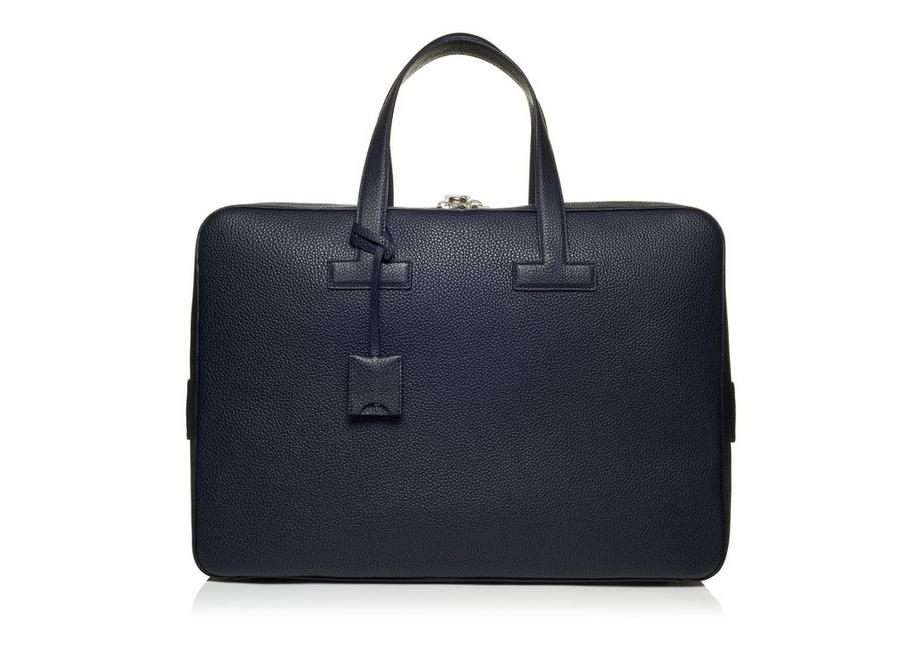 T LINE GRAINED LEATHER MEDIUM BRIEFCASE A fullsize