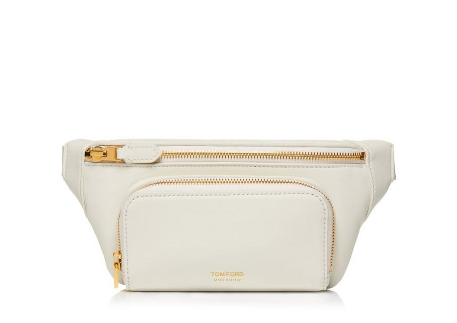 SMOOTH LEATHER DOUBLE ZIP BELT BAG A fullsize