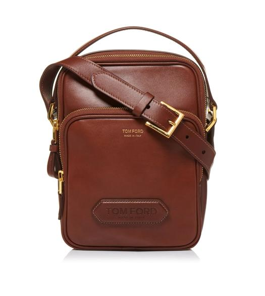 SMOOTH LEATHER DOUBLE ZIP MESSENGER