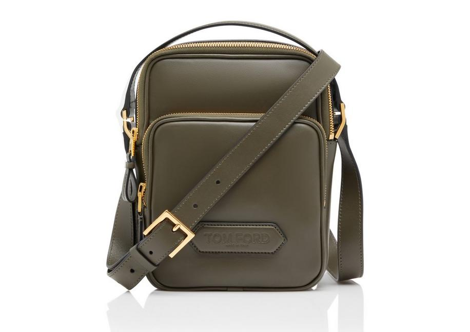 SMOOTH LEATHER DOUBLE ZIP MESSENGER A fullsize