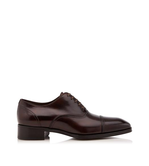BROWN LEATHER GIANNI OXFORD LACE UP