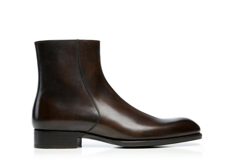 Edward Burnished Leather Zip Chelsea Boot A fullsize
