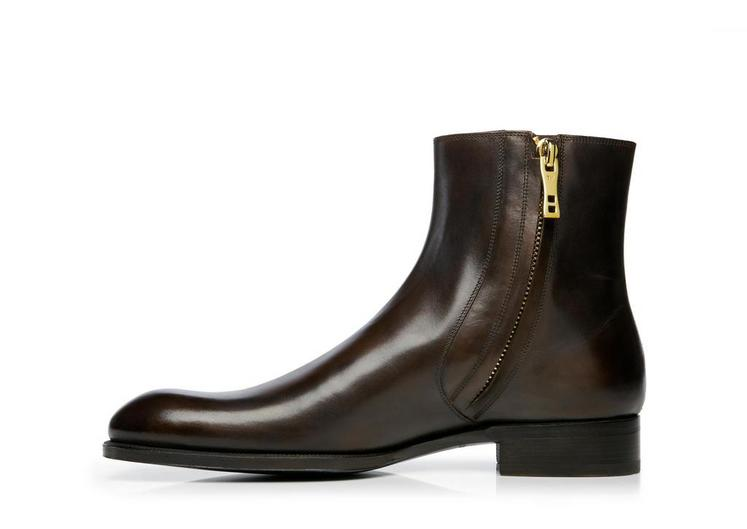 Edward Burnished Leather Zip Chelsea Boot B fullsize