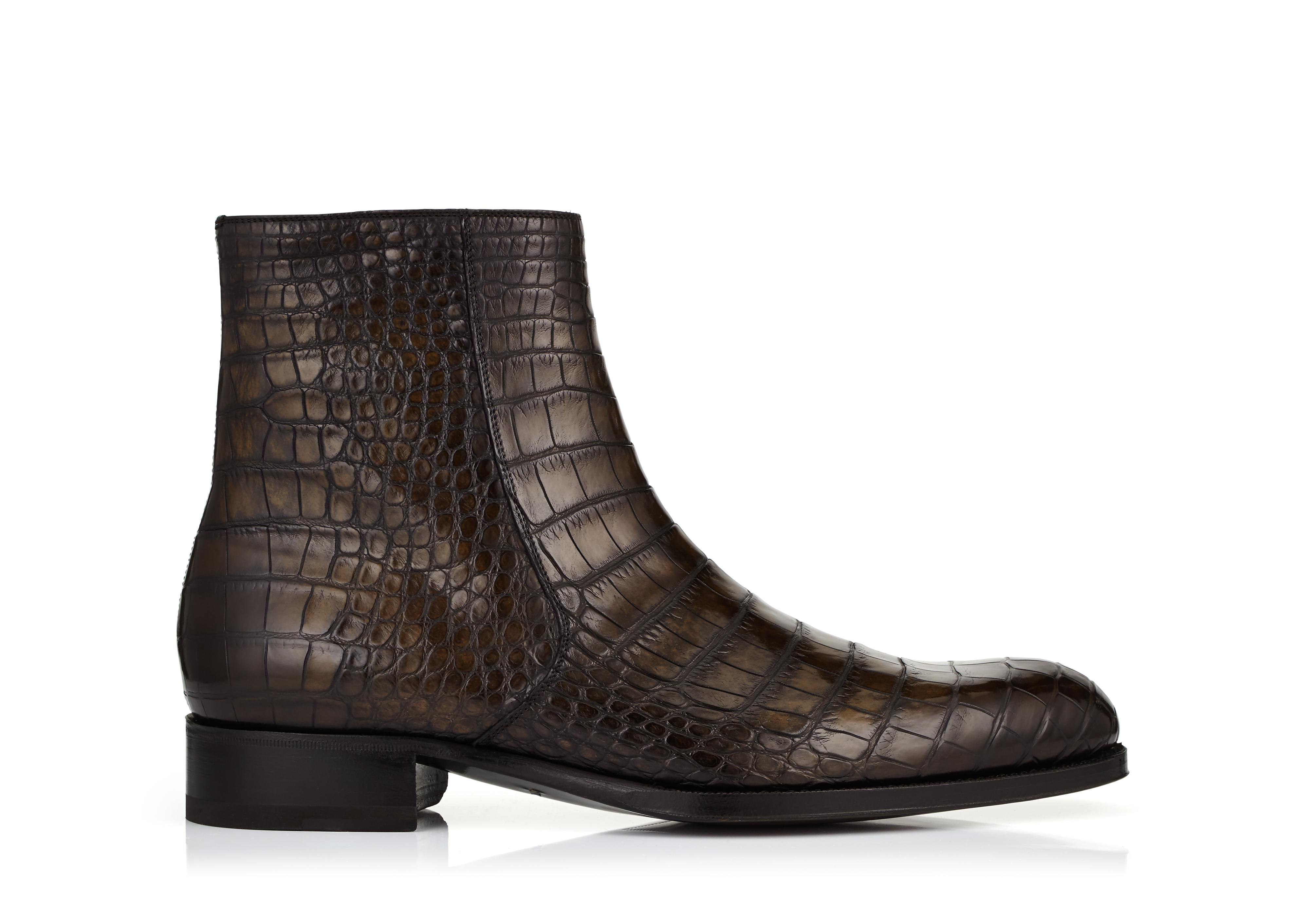 EDGAR ALLIGATOR HAND POLISHED ZIP BOOTS A thumbnail