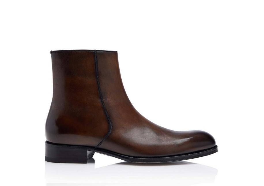 EDGAR BURNISHED LEATHER ZIP BOOTS A fullsize