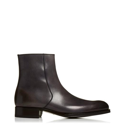 EDGAR BURNISHED LEATHER ZIP BOOTS