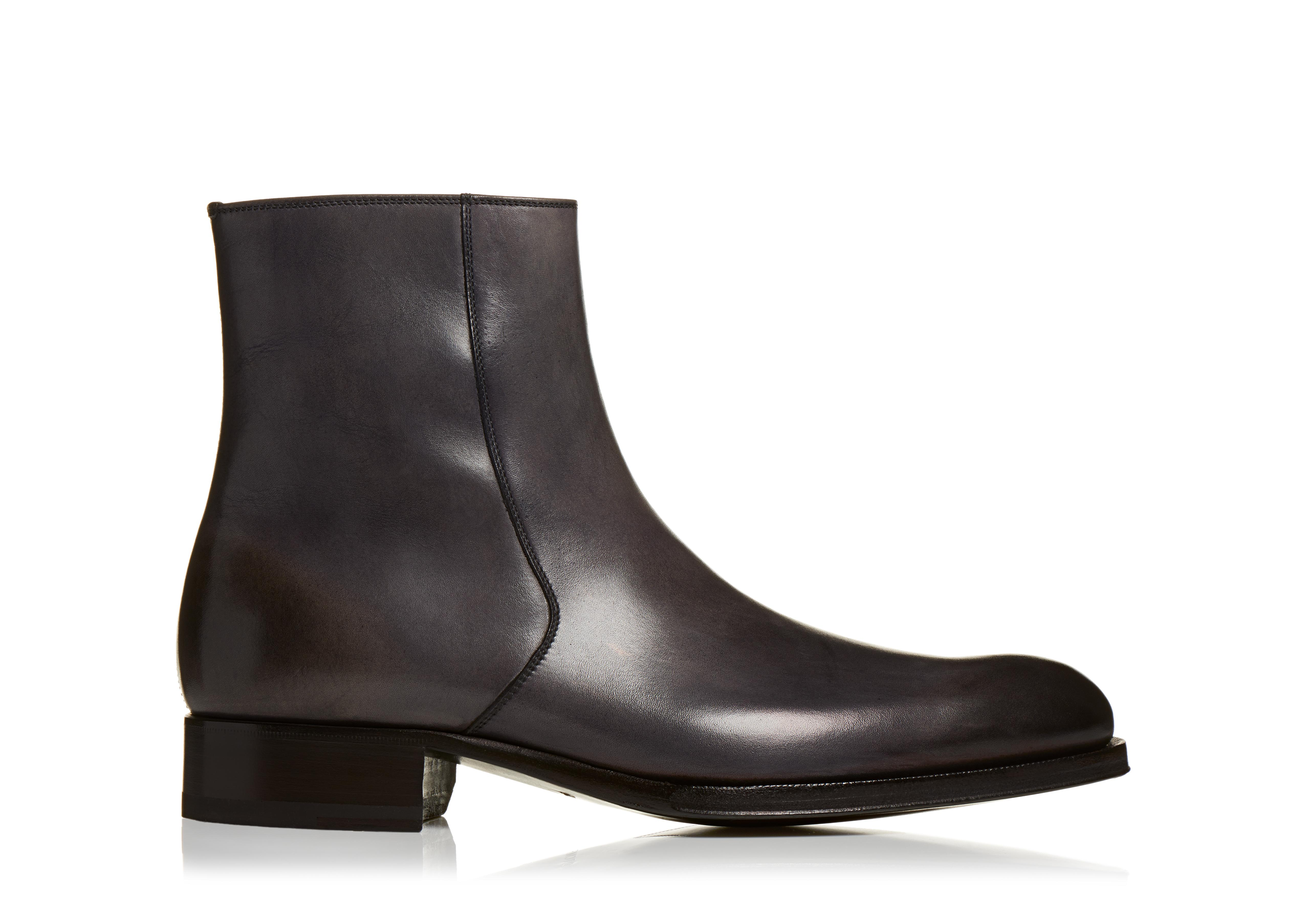 EDGAR BURNISHED LEATHER ZIP BOOTS A thumbnail