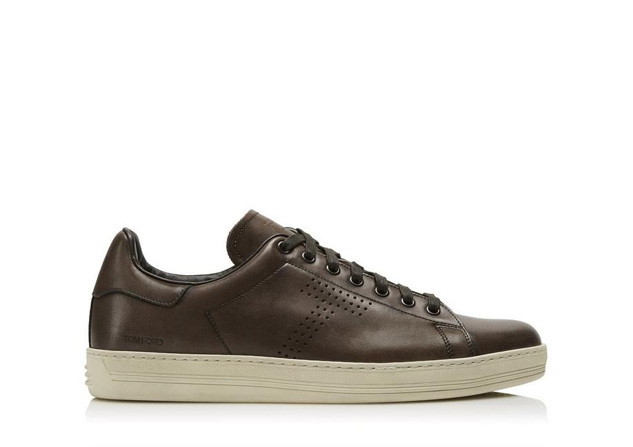 WARWICK BURNISHED LEATHER SNEAKERS A fullsize