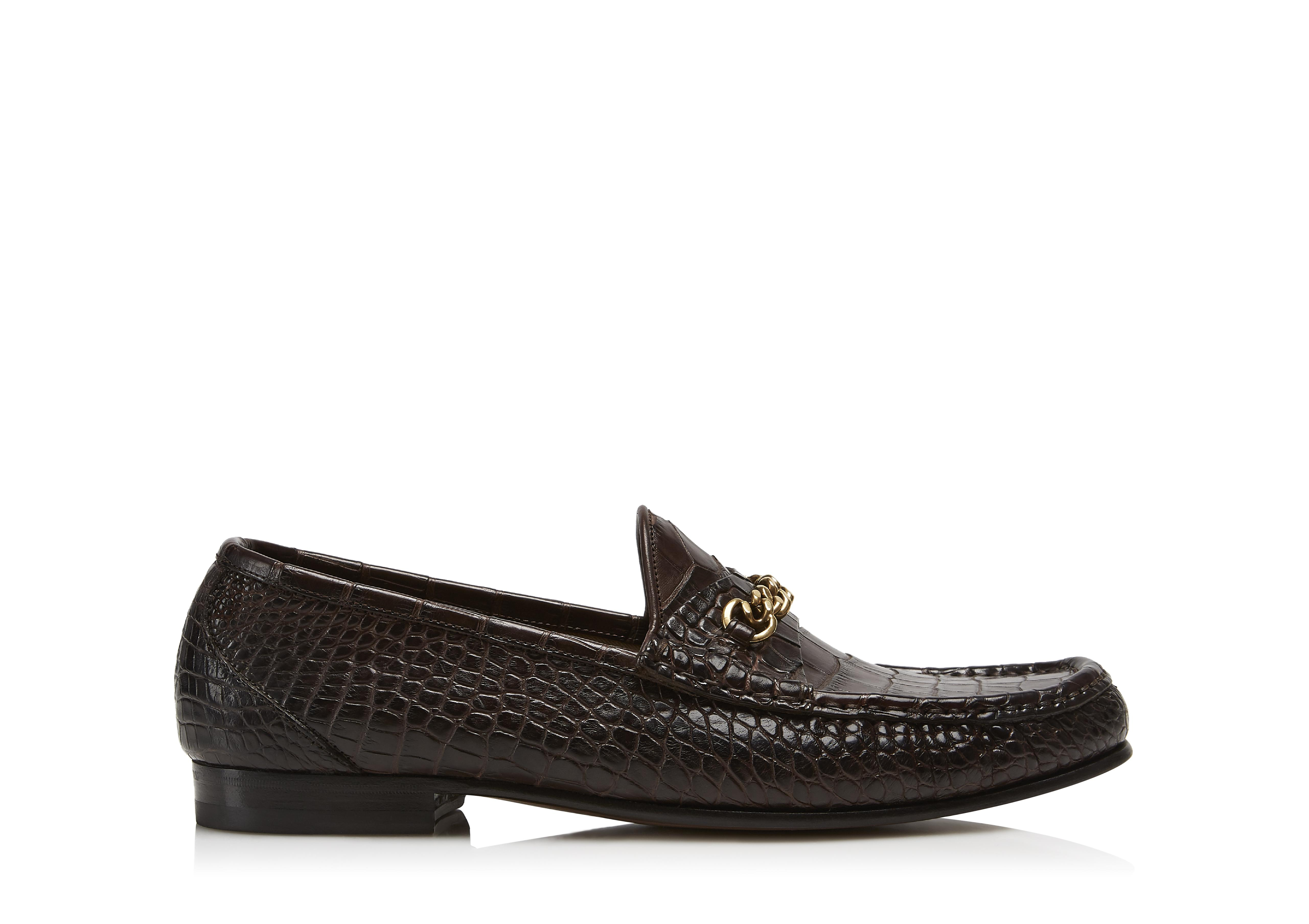 ALLIGATOR YORK CHAIN LOAFERS A thumbnail